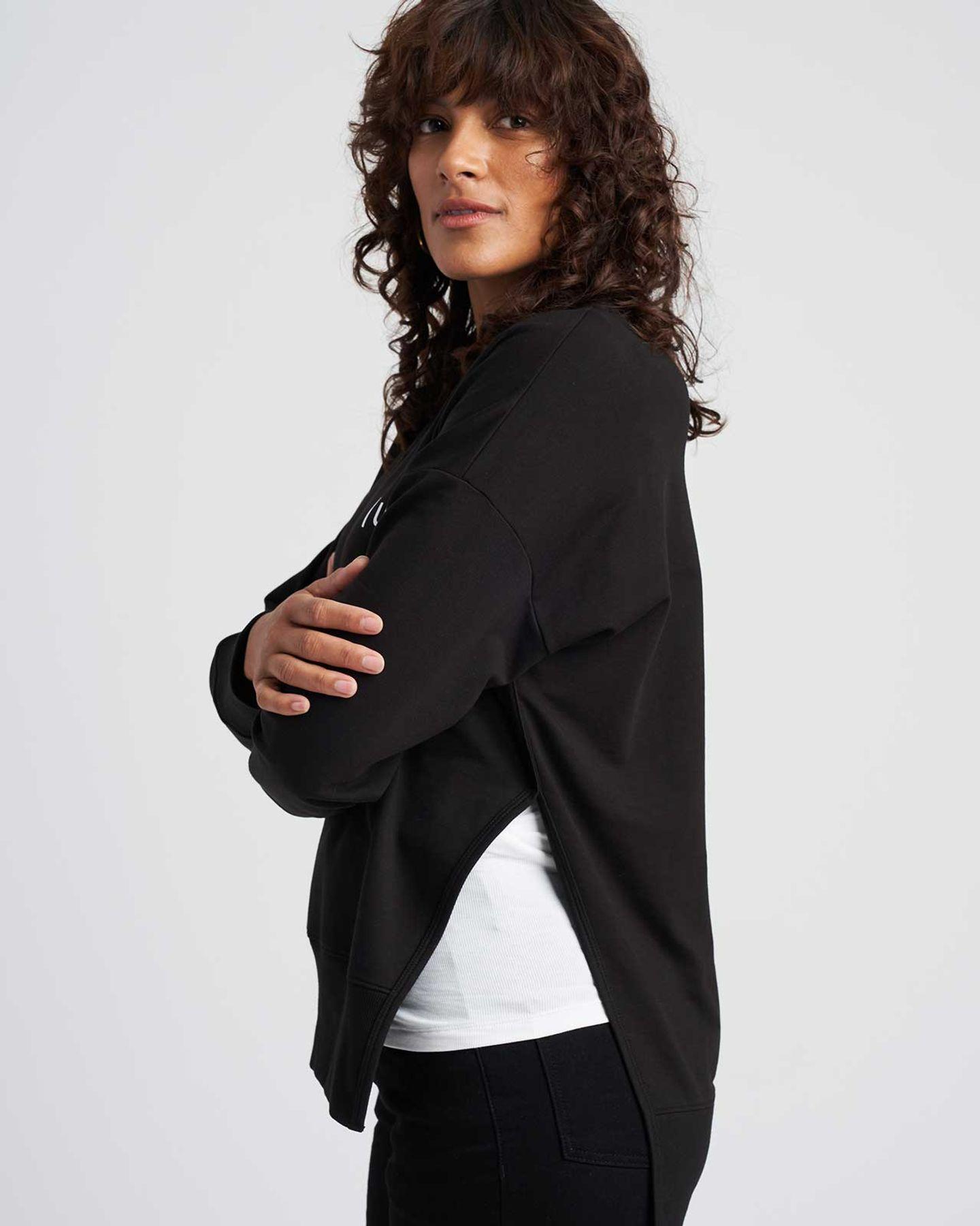 Fiona Open Side Sweatshirt - Black Logo - image 1