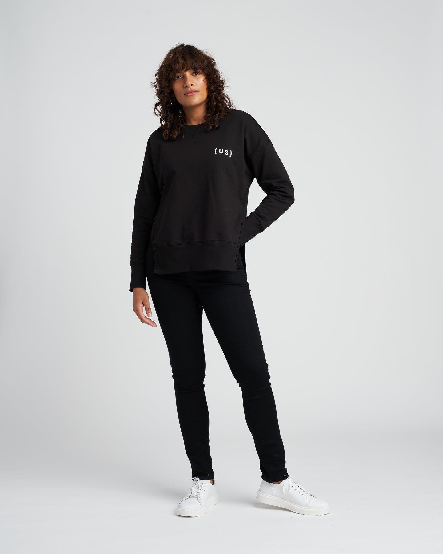 Fiona Open Side Sweatshirt - Black Logo - image 0