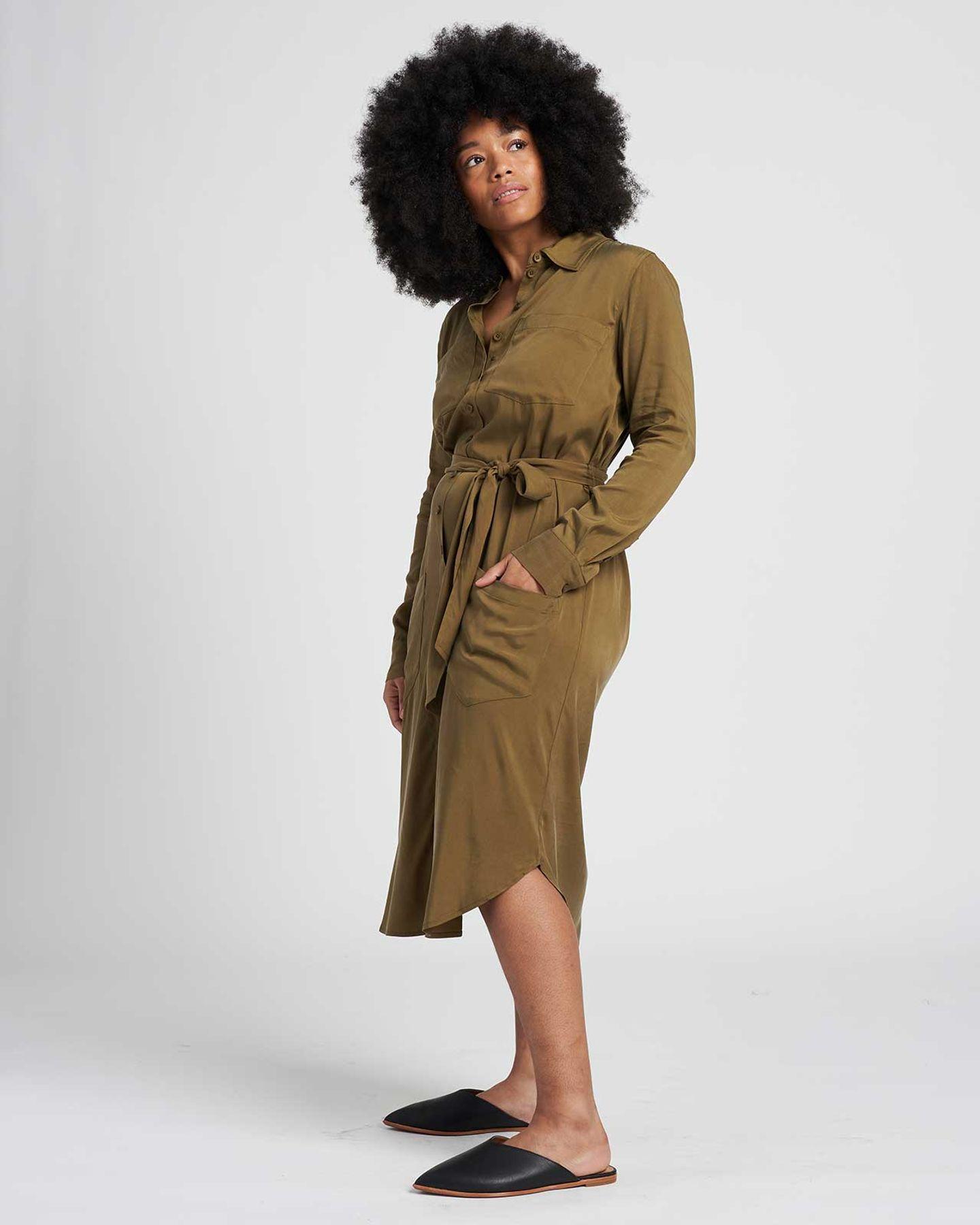 Michelle Cupro Shirt Dress - Olive - image 0