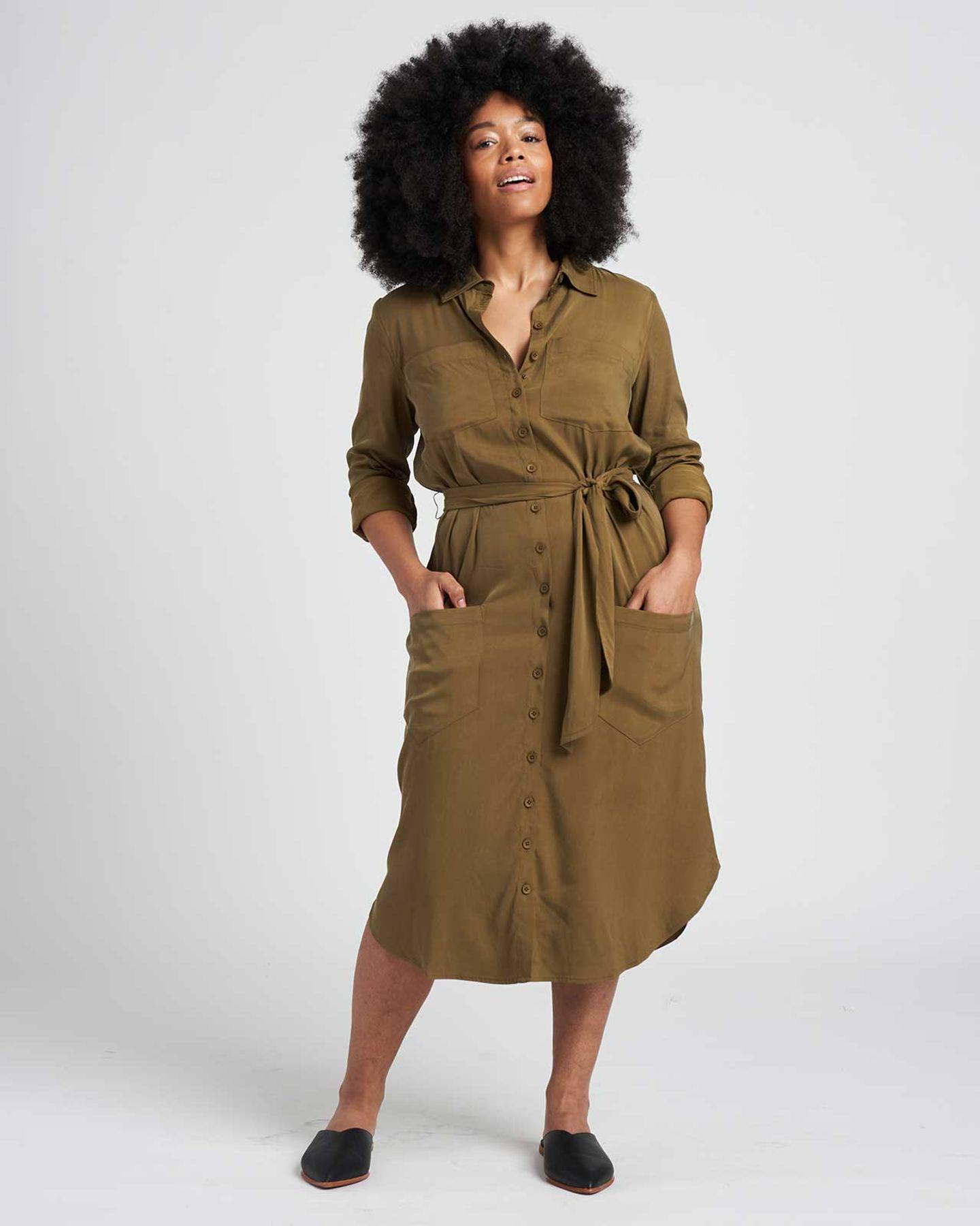 Michelle Cupro Shirt Dress - Olive - image 1