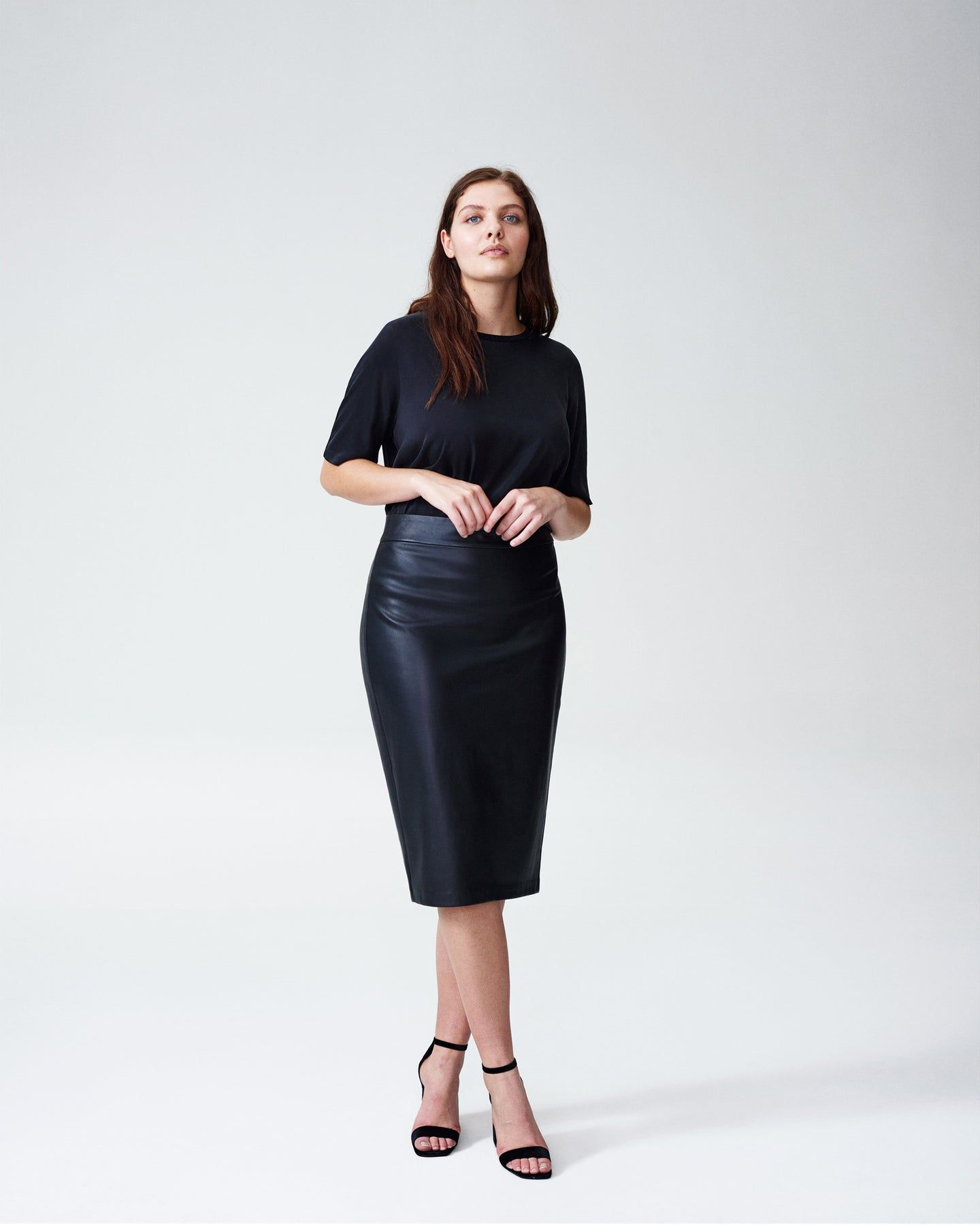 Sillaro Vegan Leather Pencil Skirt - Black - image 0