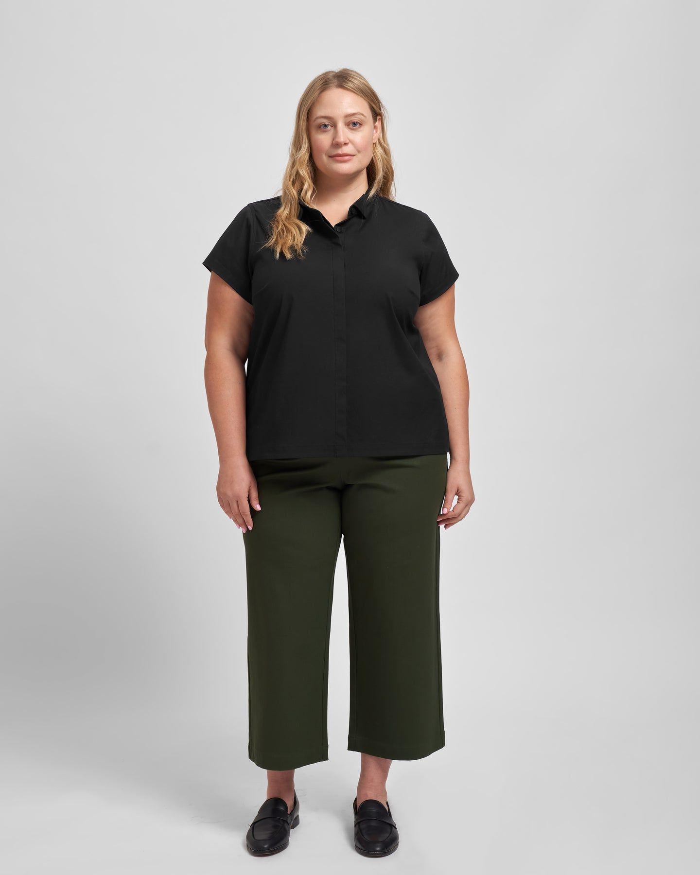 Aster Tuxedo Collar Shirt - Black - image 0