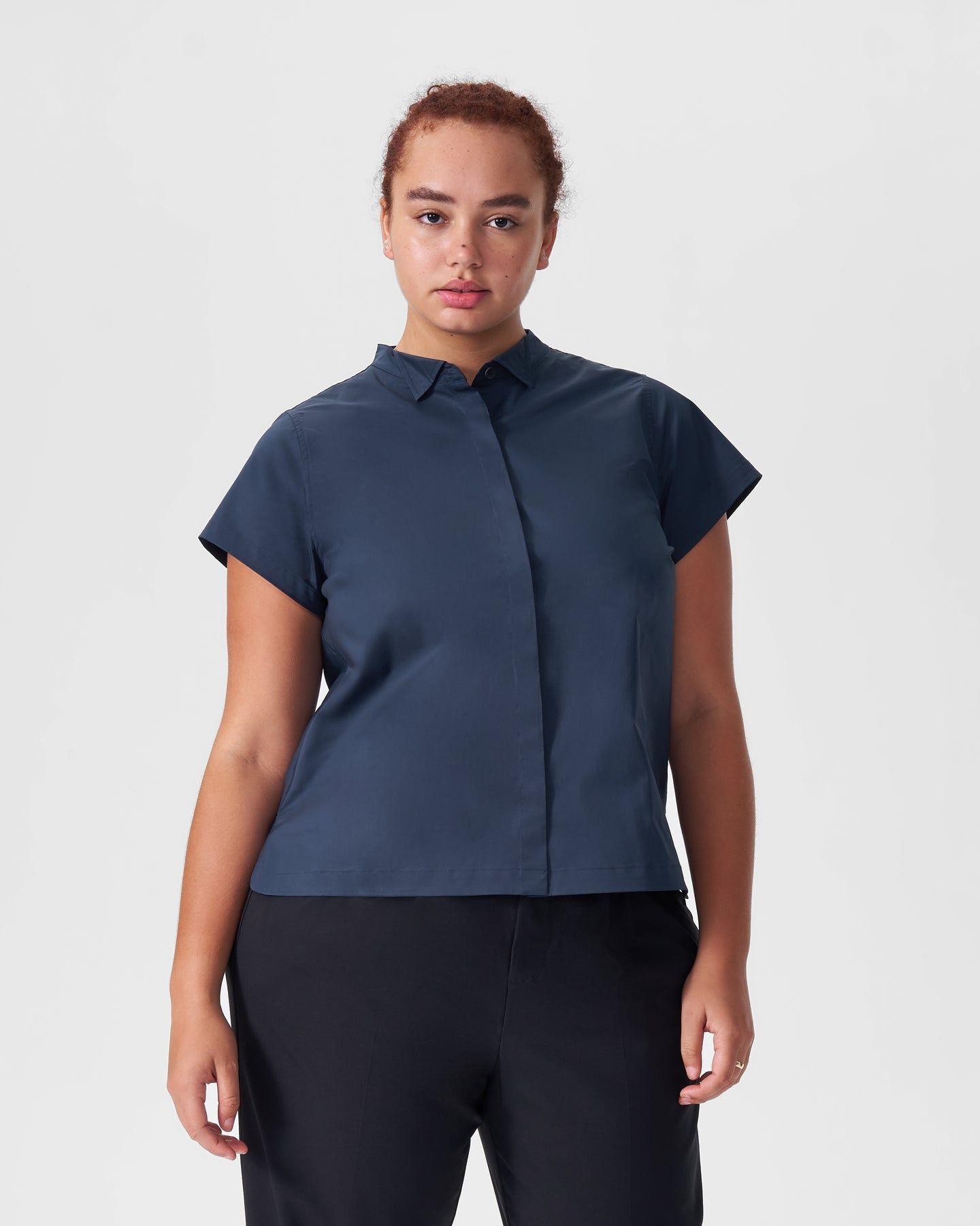 Aster Tuxedo Collar Shirt - Navy - image 0