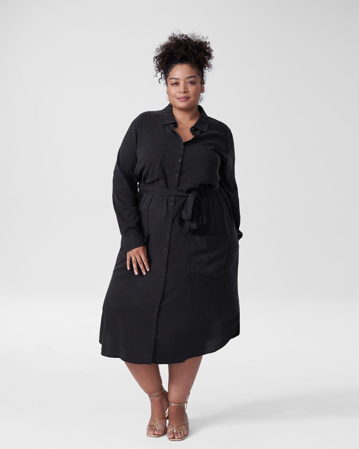Michelle Cupro Shirt Dress - Black - image 0