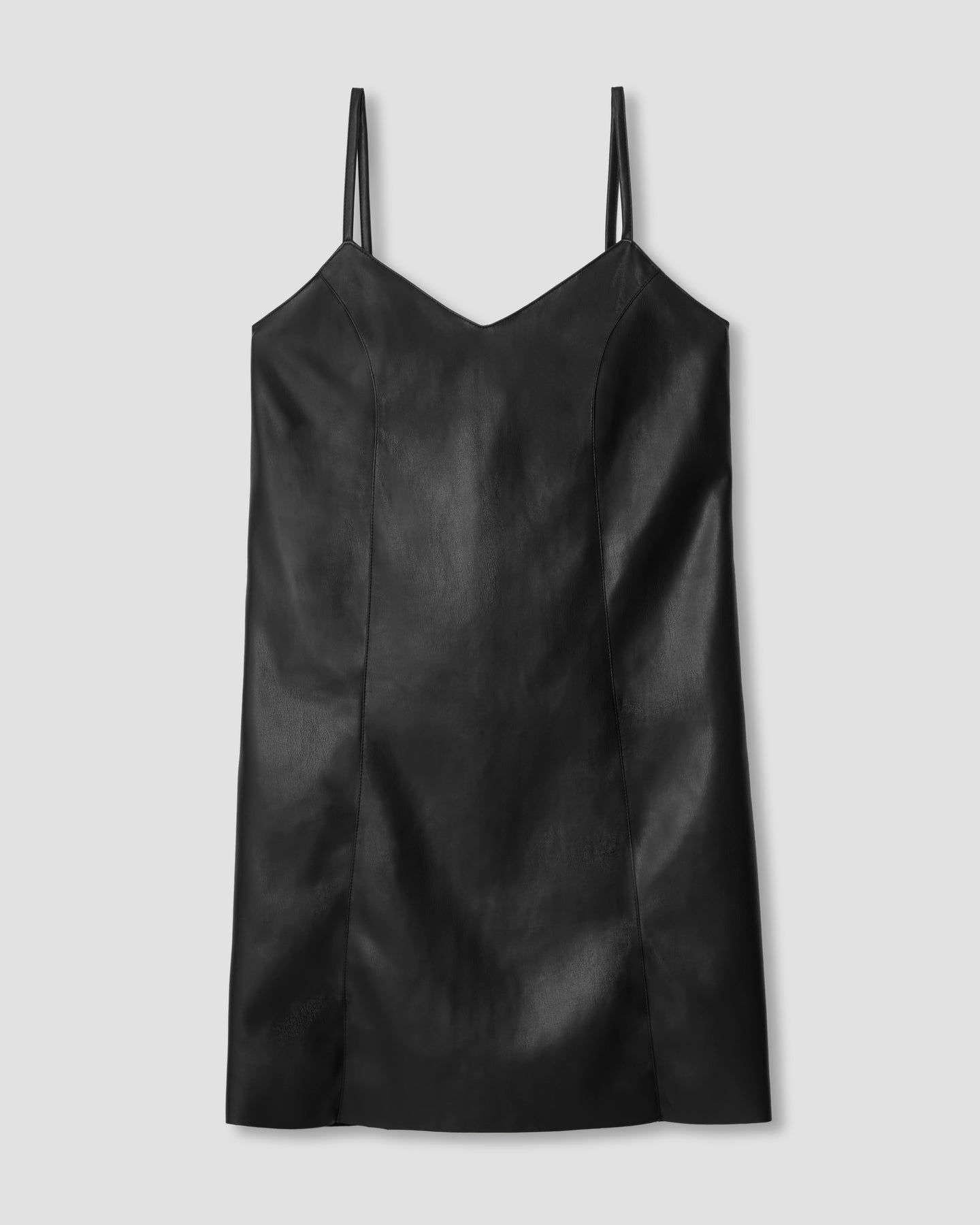 Hen Vegan Leather Slip Dress - Black - image 1