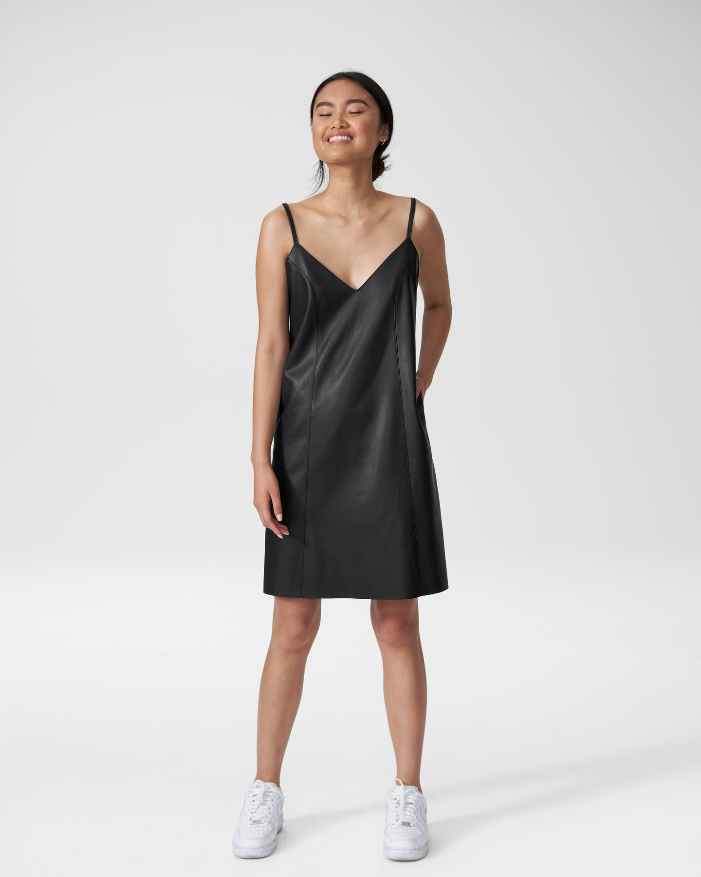 Hen Vegan Leather Slip Dress - Black - image 0
