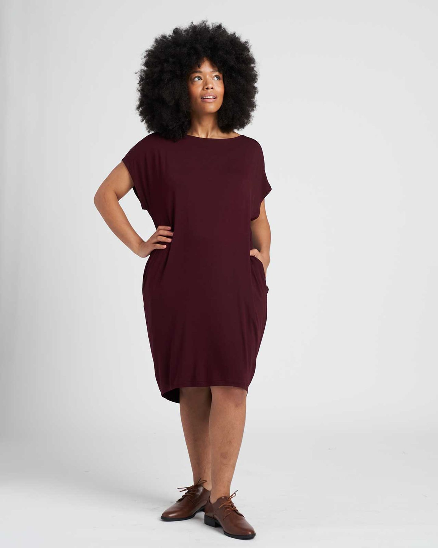Helen Liquid Jersey Shift Dress - Black Cherry - image 0