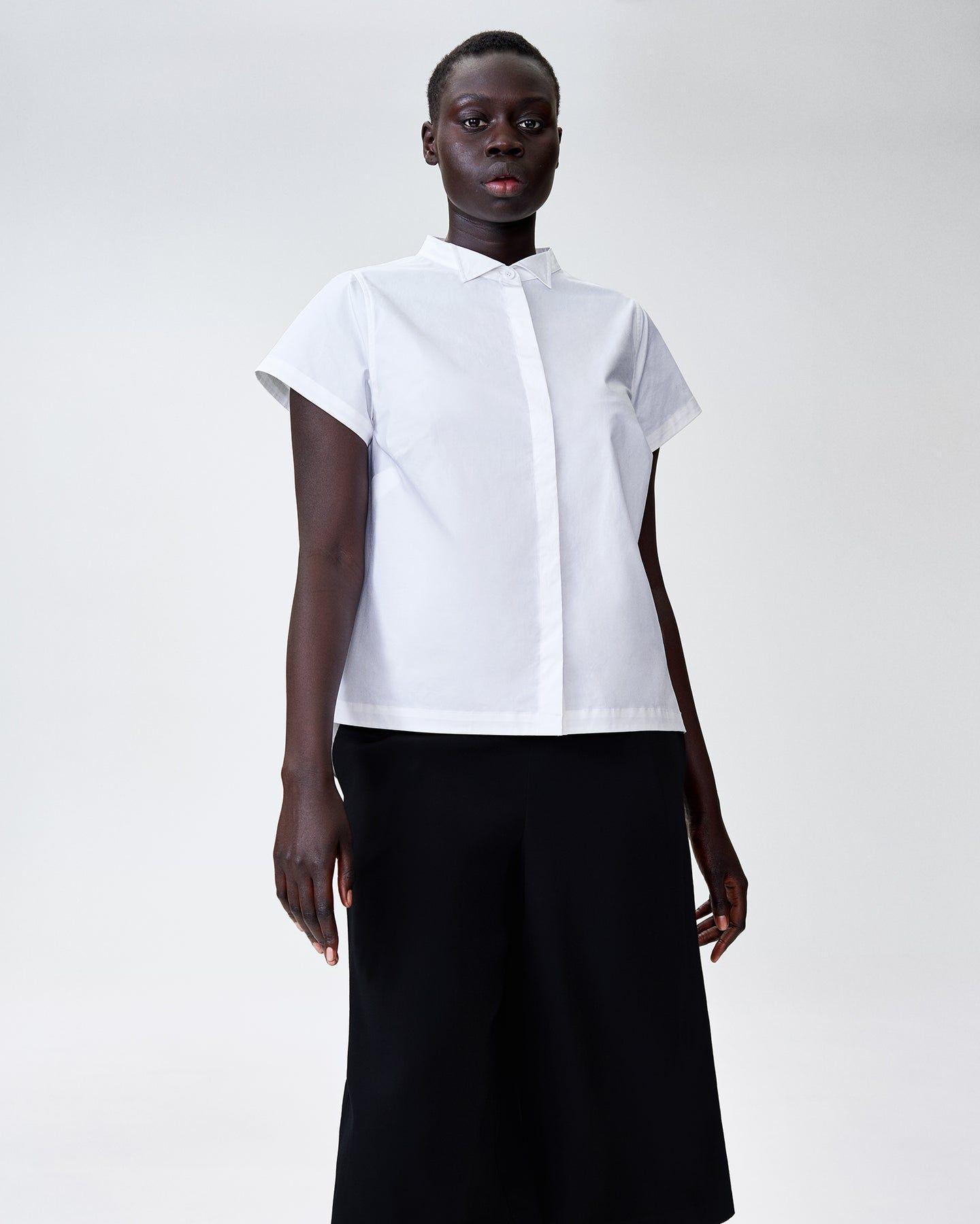 Aster Tuxedo Collar Shirt - White - image 1