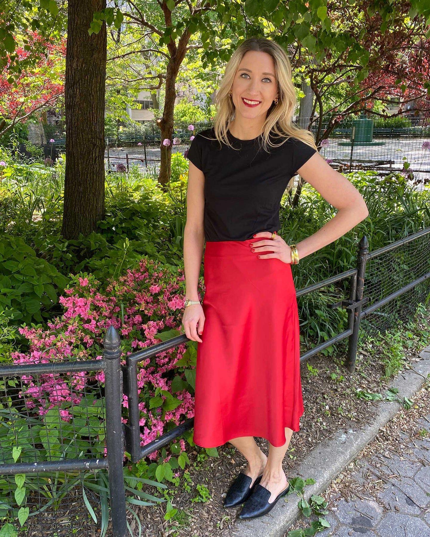 CeeCee Midi Bias Skirt - Red - image 0