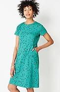 seamed crew-neck knit dress
