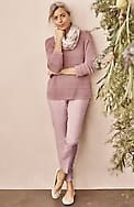 linen-stretch button-hem ankle pants