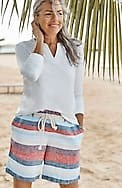 linen striped belted shorts