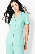 sleep ultrasoft piped button-front top