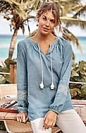 indigo embroidered-sleeve tunic