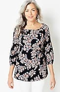 3/4-sleeve floral a-line top