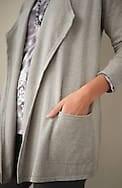 pure jill cotton & cashmere draped-front cardi