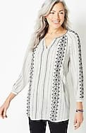 embroidered pinstriped blouse