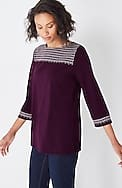 embroidered boat-neck tee