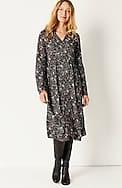 flounced-hem button-front dress