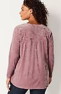 velvet-knit shirred-back top