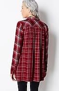 mixed-plaid double-cloth tunic