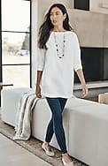 cotton-stretch pleated-back tunic