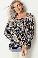 printed square-neck a-line top