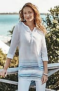 linen-blend back-pintucks tunic