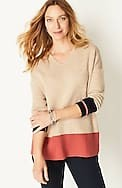 reversible color-block v-neck sweater