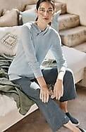 pure jill linen & cotton straight full-leg crops