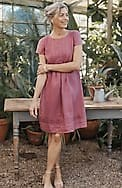 linen cap-sleeve pleated dress