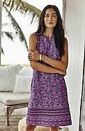linen a-line split-neck dress