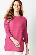 linen & rayon boat-neck dolman sweater