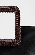 beaded-handle leather mini tote