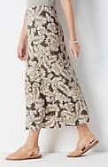 printed a-line knit maxi skirt