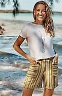 linen & rayon cuffed shorts