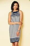 wearever striped halter-neckline dress