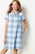 linen pleat-back shirtdress