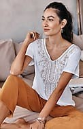 pure jill embroidered elliptical top