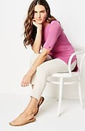 linen & rayon buttoned-sleeve sweater tunic