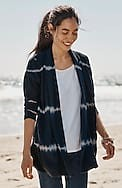 pure jill tie-dyed open-front jacket