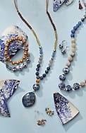 porcelain blue semiprecious stretch bracelet