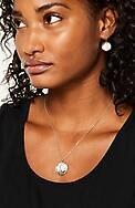 sterling silver disk & pearl drop earrings