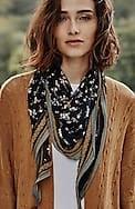 tasseled printed diamond scarf
