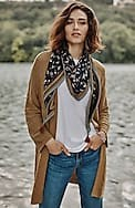 relaxed open-front cabled cardi