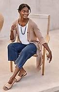 pure jill indigo knit cropped straight full-leg jeans