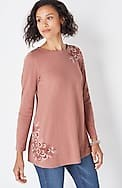 embroidered knit a-line tunic