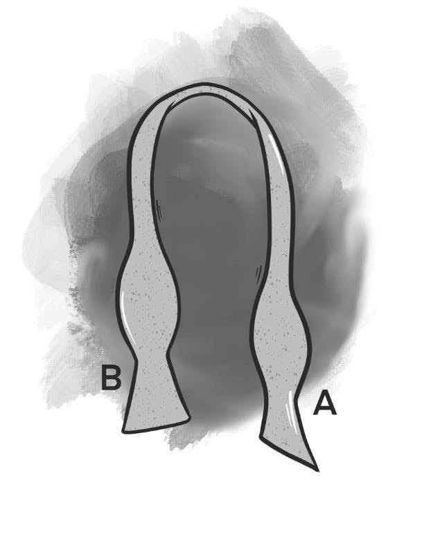 To tie a bow tie, the first step is to make sure that one end of the bow tie is longer than the other end by a few inches. The longer end of the tie should be on your right side.
