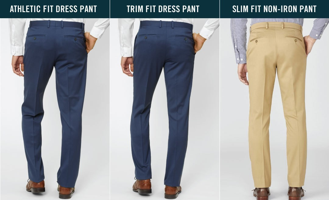 Back side comparisons for Athletic fit, Trim fit and Slim fit pants