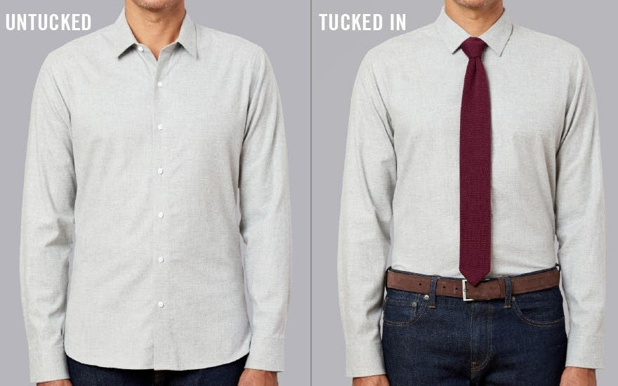 Front view for tucked in and untucked shirt